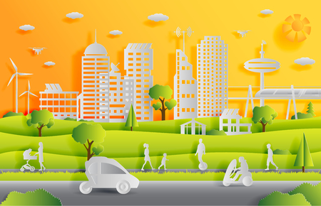 Concept of smart city with technologies of future and urban innovations, paper cut design vector illustration Imagens - 117235559