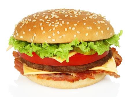 Big hamburger on white background close-up