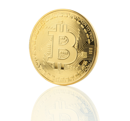 Bitcoin cryptocurrency coin on white background close-up
