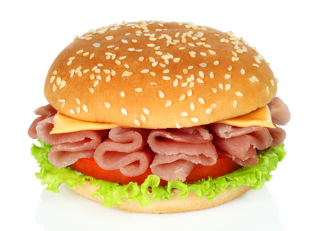 Big burger with twisted meat on white background close-up