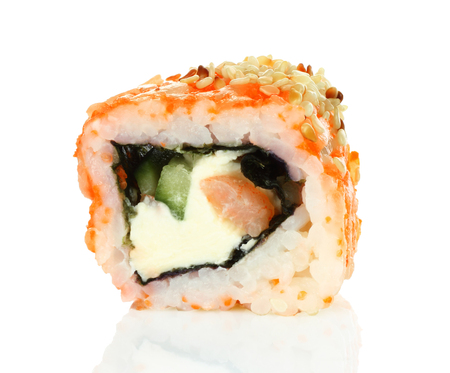 Sushi roll pieces with salmon, rice and nori isolated on white background. Delicious japanese food Reklamní fotografie