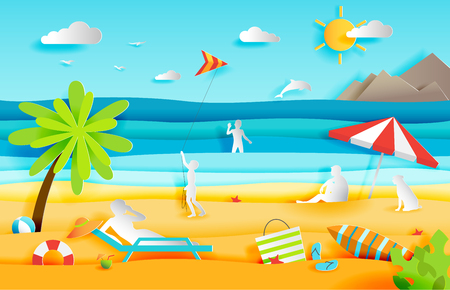 Summer panorama of tropical beach with people, paper cut style vector illustration