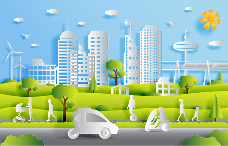 Concept of smart city with technologies of future and urban innovations, paper cut design vector illustration