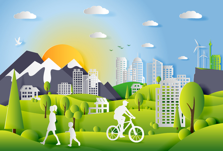 Concept of ecology city with technologies of future and urban innovations, paper cut design vector illustration