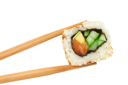 Sushi roll pieces with salmon, rice, avocado, cucumber and nori isolated on white background. Delicious japanese food Stock fotó - 123207584