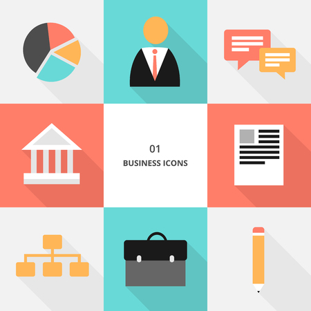 Set 01 - flat design business icons, vector illustration Stock fotó - 123207613