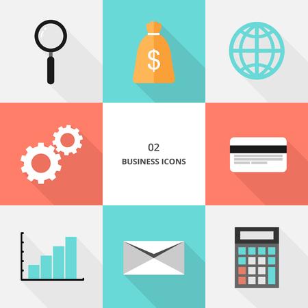 Set 02 - flat design business icons, vector illustration