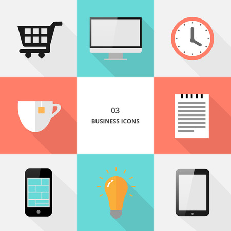 Set 03 - flat design business icons, vector illustration