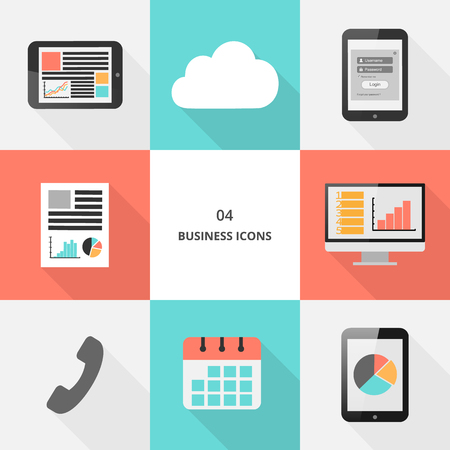 Set 04 - flat design business icons, vector illustration