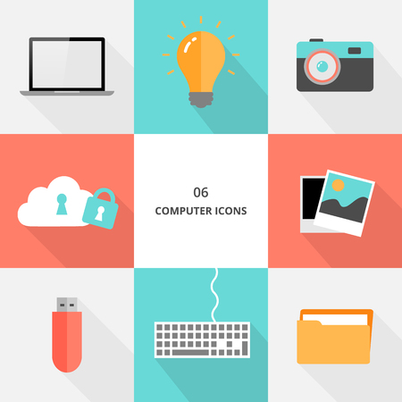 Set 06 - flat design computer icons, vector illustration Stock fotó - 123207618
