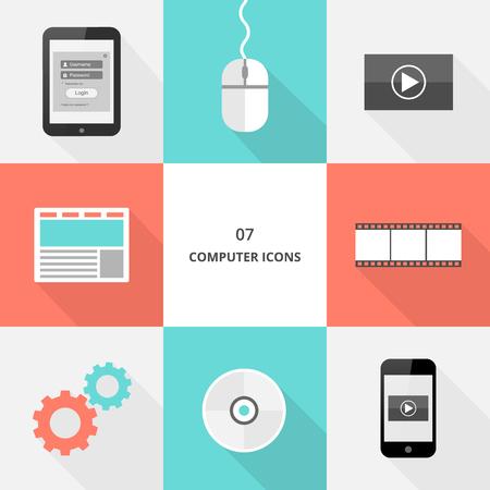 Set 07 - flat design computer icons, vector illustration