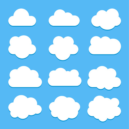 Set of white cloud icons in flat style isolated on blue background with shadow, for web site design, vector illustration Stock fotó - 123207621
