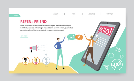 Refer a Friend, creative website template, flat design vector illustration