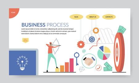 Business process concept, creative website template,  modern flat design vector illustration