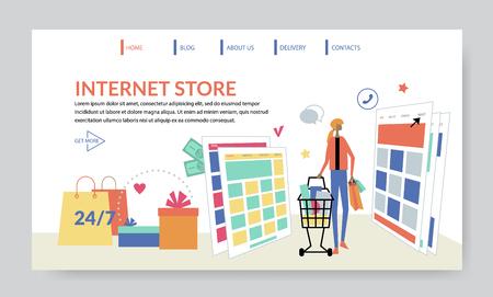 Internet Store, creative website template, flat design vector illustration