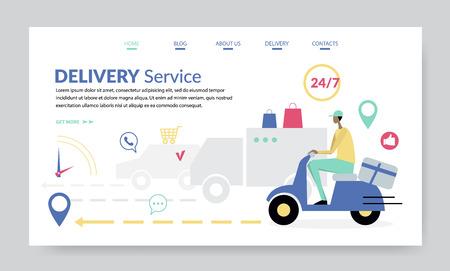 Delivery Service, creative website template, flat design vector illustration