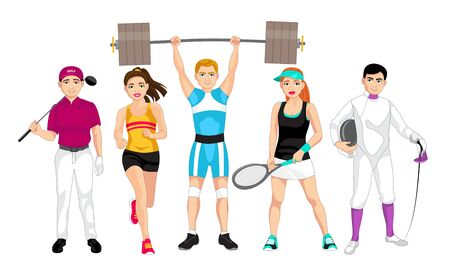 Set of people related to the different sports such as golf, running, weightlifting, tennis and fencing, vector illustration