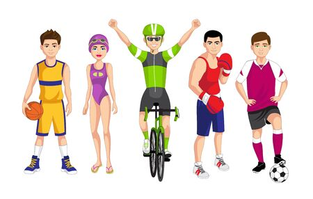 Set of people related to the different sports such as basketball, swimming, cycling, boxing and soccer, vector illustration Stock fotó - 130966907