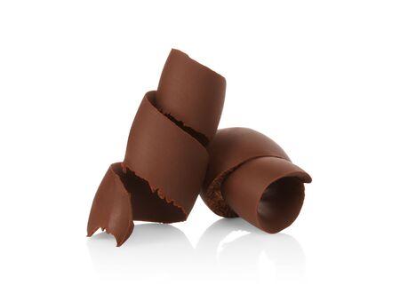 Chocolate shavings on white background close-up Stock fotó - 135193042