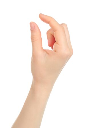 Woman hand with gesture like enlarging the picture on tablet PC screen, on white background Stock fotó - 137946328