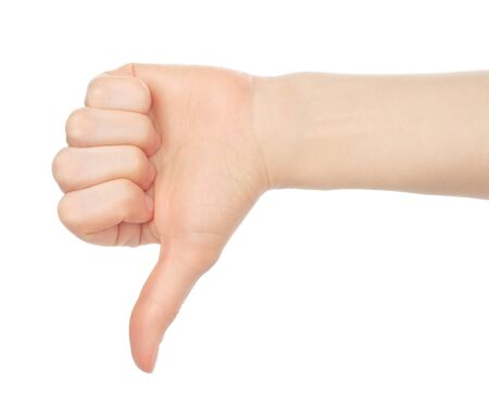 Woman hand, dislike on white background close-up