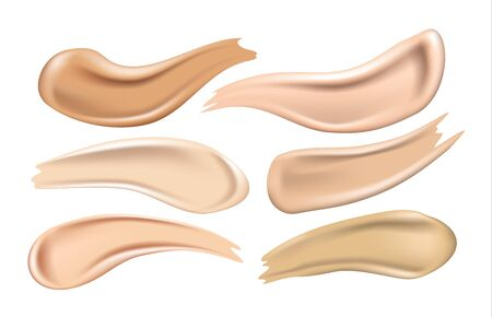 Set of cosmetic foundation cream smears on white background, realistic vector illustration Illustration
