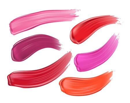 Set of cosmetic lipstick smears on white background. Different strokes of lipstick various colors, realistic vector illustration Illusztráció