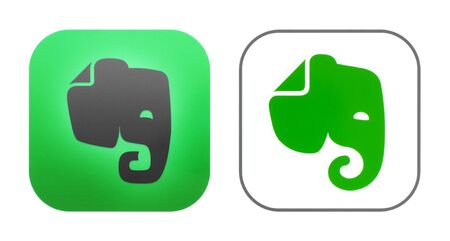 Kiev, Ukraine - October 29, 2019: New and old Evernote icons printed on white paper. Evernote is an app designed for note taking, organizing, task management, and archiving Editorial