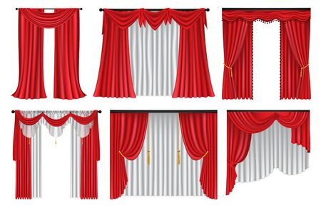 Set of red luxury curtains and draperies on white background, realistic vector illustration Ilustrace