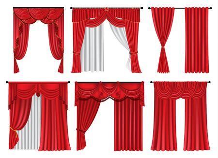 Satz rote Luxusvorhänge und Vorhänge auf weißem Hintergrund, realistische Vektorillustration