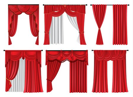 Set of red luxury curtains and draperies on white background, realistic vector illustration Иллюстрация