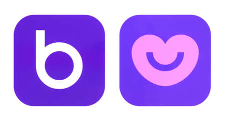 Kiev, Ukraine - October 29, 2019: New and old Badoo Dating icons printed on white paper. Badoo is a dating-focused social network