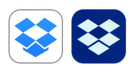Kiev, Ukraine - October 29, 2019: New and old Dropbox icons printed on white paper. Dropbox is a file hosting service operated by the American company Dropbox