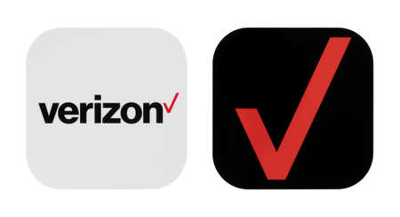 Kiev, Ukraine - November 02, 2019: Verizon old and new icons printed on white paper. Verizon Communications is an American multinational telecommunications conglomerate