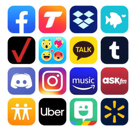 Kiev, Ukraine - November 02, 2019: New icons of popular social media Apps such as: Facebook, Find My Friends, Instagram, Tango, Dropbox, My Verizon, Uber, Walmart and others, printed on white paper Editorial