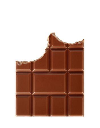 Bitten milk chocolate bar isolated on white background close-up 版權商用圖片 - 142086573