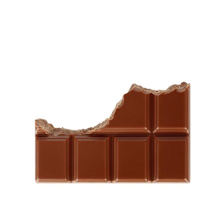 Bitten milk chocolate bar isolated on white background close-up