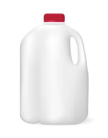 Bottle for milk, juice or something else, on white background. Realistic vector illustration 向量圖像