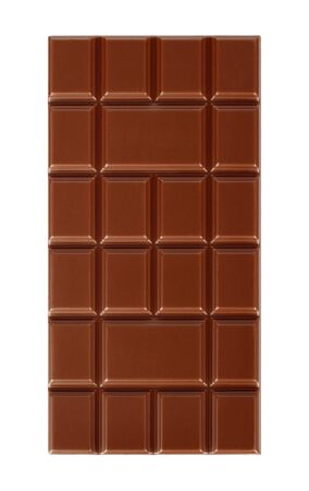 Milk chocolate bar isolated on white background close-up