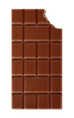 Bitten milk chocolate bar isolated on white background close-up