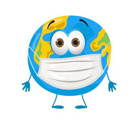 Scared Earth Planet using mask because of coronavirus pandemic, modern flat vector illustration