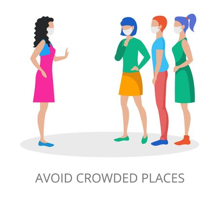 Avoid Crowded Places concept, modern flat design vector illustration, for graphic and web design Ilustração