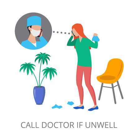 Call Doctor If Unwell concept, modern flat design vector illustration, for graphic and web design