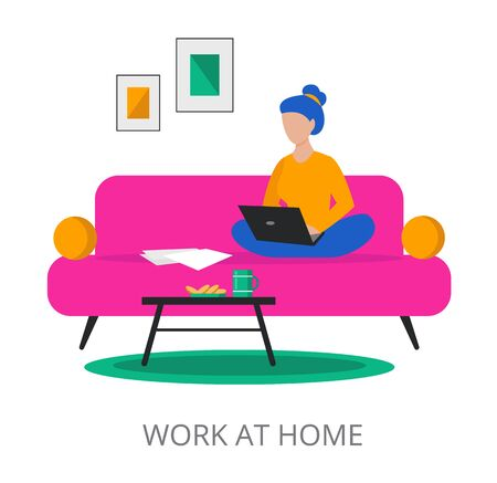 Work at Home concept, modern flat design vector illustration, for graphic and web design