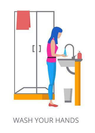 Wash Your Hands concept, modern flat design vector illustration, for graphic and web design
