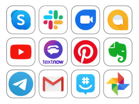 Kiev, Ukraine - November 02, 2019: New icons of popular social media Apps such as: Skype, Slack, Youtube, TextNow, Pinterest, Evernote and others, printed on white paper Imagens - 145724906