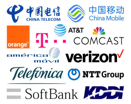 Kiev, Ukraine - February 23, 2020: Logos collection of  the biggest world telecommunication companies, such as: China Telecom, AT&T, Verizon, Telefonica, SoftBank, and others Editorial