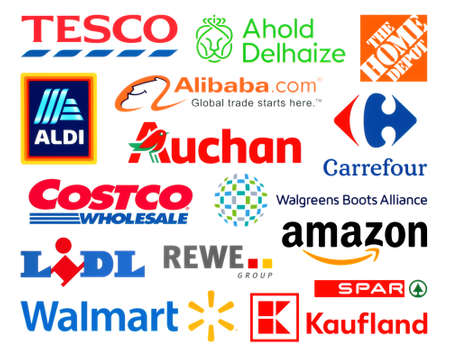 Kiev, Ukraine - February 23, 2020: Logos collection of the biggest world retails, such as: Amazon, Tesco, Alibaba, Lidl, Walmart, Aldi, Auchan, and others