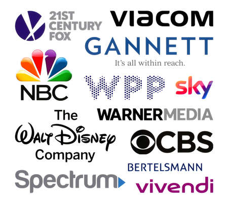 Kiev, Ukraine - February 23, 2020: Logos collection of the biggest world broadcasting companies, such as: 21st Century Fox, Viacom, Gannett, NBC, WPP, Sky, Warner Media, and others Editorial