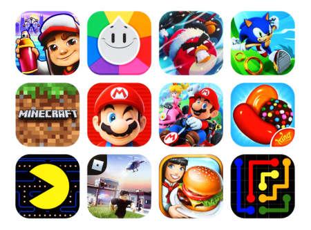 Kiev, Ukraine - 23 février 2020 : Collection d'icônes des jeux vidéo mobiles populaires, tels que : Subway Surfers, Trivia Crack, Angry Birds, Sonic Dash, Super Mario Run et autres